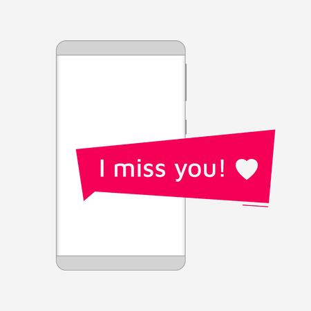 Smartphone rode die kennisgeving op lichte achtergrond wordt geïsoleerd. Ik mis je! Frameloze smartphone-omtrek.