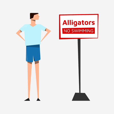 The man in a T-shirt and shorts at the sign Alligators NO SWIMMING on light background. Use as a template to replace text. Vector illustration. Eps10.