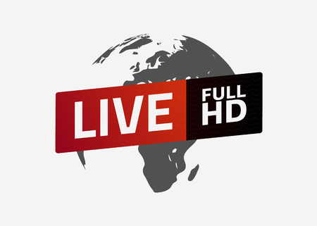 Globe with live full HD button text
