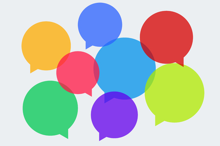 Blank speech multicolored bubbles template. Vector illustration. Light background. Eps10. 矢量图像