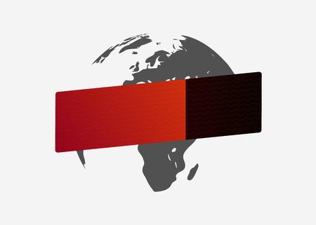 Blank red-black button. Globe. Template. Vector illustration. Light background. Eps10. 矢量图像