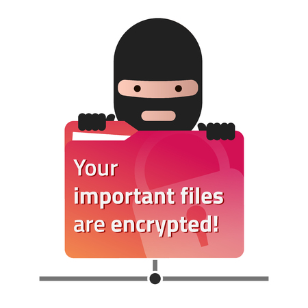 Ransomware holding a red network folder with user documents. Vector illustration. Eps10. White background. 矢量图像