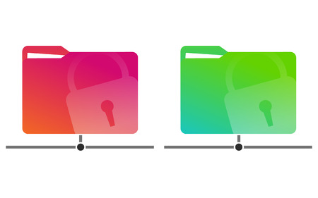 Red and green network folders with a drawn lock with documents. Set. Template. Vector illustration. Light background. Eps10.