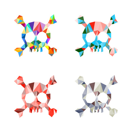 Triangle polygonal multicolored skull and bones. Set. Template. Vector illustration. Light background. Eps10. 矢量图像