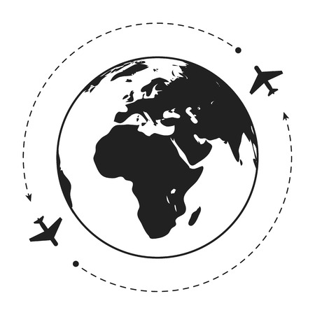 Two aircraft around the globe. Grey white illustration.  Eps10 vector. White background.