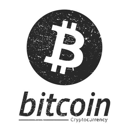 Bitcoin logo grunge. Eps10 Vector. White background.