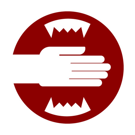 hazard sign: Hand and carnivorous teeth. Jaws Red Warning sign. Do not put your hand in the toothy mouth. Vector illustration. Light background. Eps10. Illustration