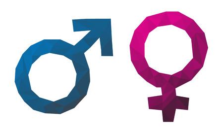 Triangular gender symbol, Male female, Red and blue icons vector illustration white background Eps10. 矢量图像
