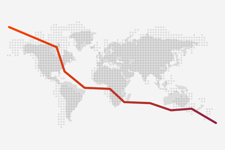 World map and a red fall graph on its background. Dotted World map. Vector illustration. Light background. Eps10. 矢量图像