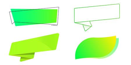 Green labels set. Template. Ribbon, leaf, popup, sticker. Vector illustration. Light background. Eps10.