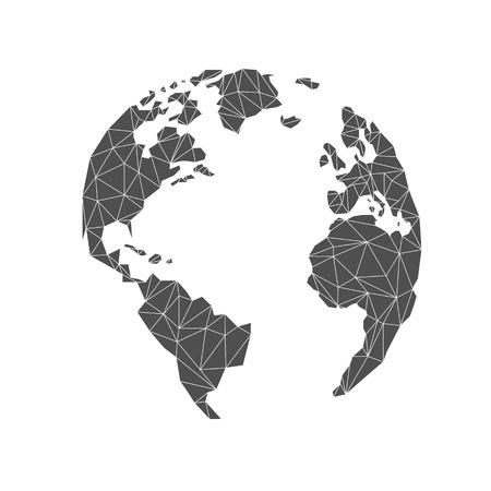 Lowpoly globe. America, Europe, Atlantic Ocean. Triangular. Vector illustration. Light background. Eps10. 矢量图像