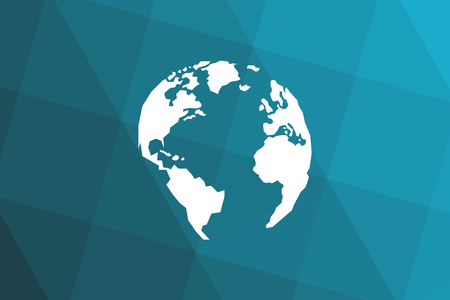 Triangular blue black gradient background. Lowpolygonal White globe. America, Europe, Atlantic Ocean. Vector illustration. Eps10.
