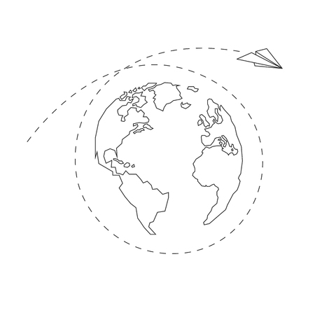 Paper airplane around the globe. America, Europe, Atlantic Ocean, Africa. Dotted line. Contour continents. Vector illustration. White background. Eps10.