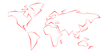 Contour continents. World Map. Red. Vector illustration. White background. Eps10.