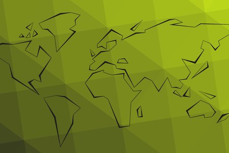 Contour continents. Green triangular lowpoly background. World Map. Vector illustration. Eps10. 矢量图像