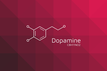 Dopamine molecular structure. Triangular red black gradient background. Vector Chemical formula wallpaper. Cubic isometric pattern. Eps10 Vector.