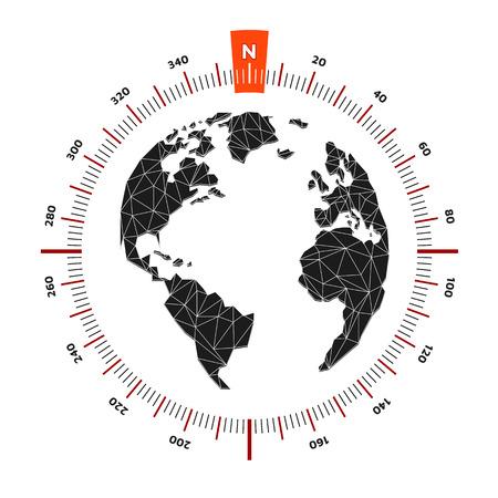 Globe world map compass nautical travel. Scale is 360 degrees. North designation. America, Europe, Atlantic Ocean. Lowpoly triangular. Vector illustration. White background. Eps10. 矢量图像