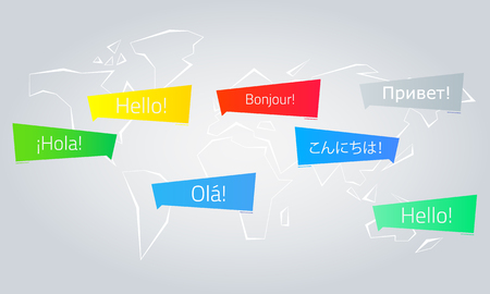 Colored speech bubbles with the text Hello in different languages.
