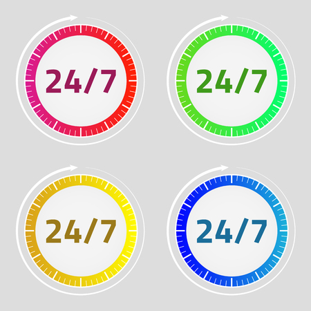24/7 icon set. Clock arrow sign. Red, green, blue, yellow. Vector illustration. Light background. Eps10.