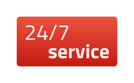 24/7 service. Red Icon. Vector illustration. Light background. Eps10.