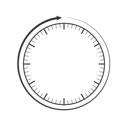 Clock face and circular arrow template. Grey, black main color. White background. Vector illustration.  Eps10. 矢量图像