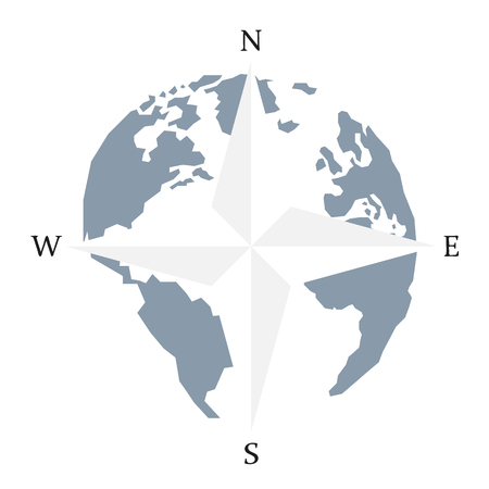 Globe world map compass arrow nautical travel. Wind Rose Compass vector icon. America, Europe, Atlantic Ocean Lowpoly triangular. Vector illustration. White background. Eps10.