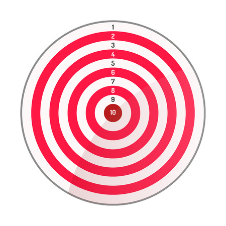 Archery target red white. Caption from 10 to 1. Vector illustration. White background. Eps10.