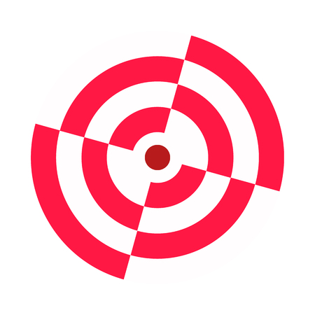 Archery target broken sectors. Red white. Icon, symbol, template. Vector illustration. White background. Eps10. 矢量图像