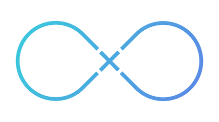 Infinity sign. Plus sign. Blue gradient. Vector isolated illustration. Light background. Eps10.