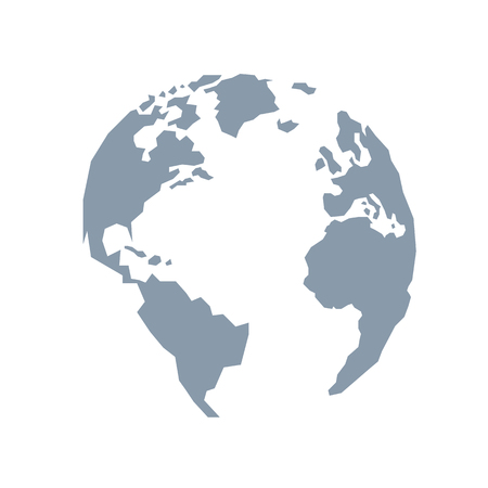 Lowpoly globe. America, Europe, Atlantic Ocean. Blue grey. Vector illustration. Light background. Eps10.