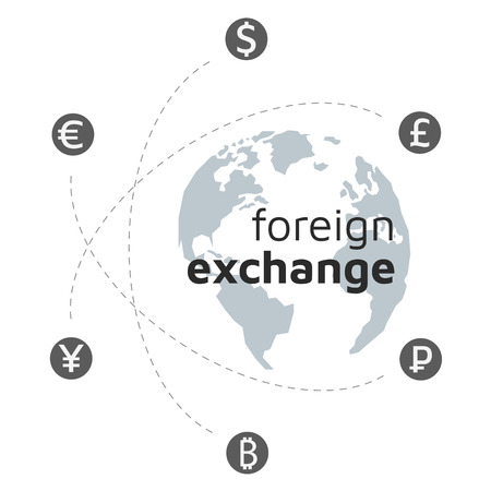 Lowpoly globe, money and bitcoin icon. Abstract sign currency exchange flat design. America, Europe, Atlantic Ocean. Blue grey. Illustration. Editable eps10 Vector. Transparent background.