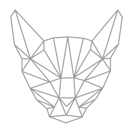 Lowpolygonal geometry, cat head. Outline style. Simple. Flat. Isolated. Vector illustration. Light background. Eps10. 矢量图像