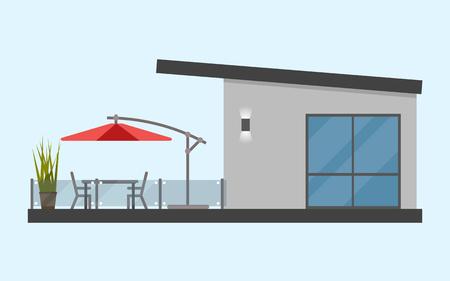 Een verdieping tellend huis met een terras en een tafel en stoelen en een zonnige rode paraplu. Eenvoudig. Vlak. Geïsoleerd. Materiaal ontwerp. Vector illustratie. Lichte achtergrond. Eps10.