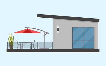 One-storey house with a terrace and a table and chairs and a sunny red umbrella. Simple. Flat. Isolated. Material design. Vector illustration. Light background. Eps10.