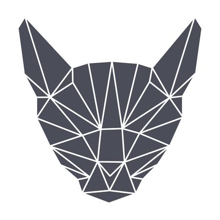 Lowpolygonal geometry, grey cat head. Simple. Flat triangular vector illustration. Isolated.