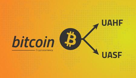 Bitcoin logo and fork arrows. UASF UAHF. Editable eps10 Vector. Transparent background.