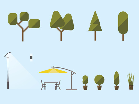 Garden plants and furniture. A set of shrubs, trees, an umbrella from the sun, a table and chairs. Street light. Flat material design. Vector illustration. Light background. Eps10.
