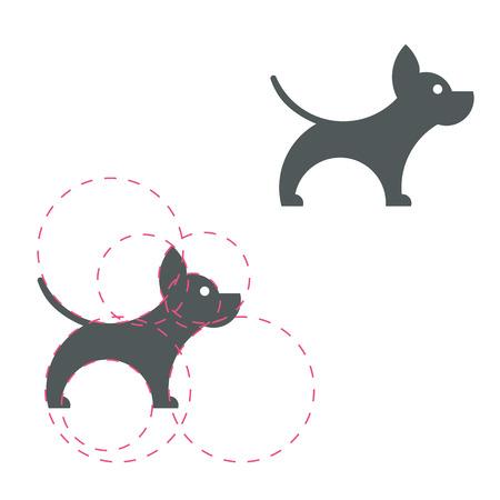 Dog logotype. Simple icon. Golden ratio. Vector illustration. Light background. Eps10. 矢量图像