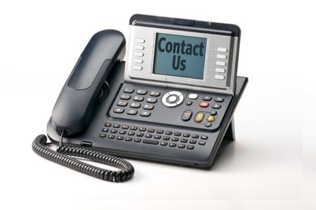 Landline telephone isolated on white backgound photo