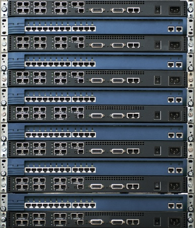 Rack of network equipment