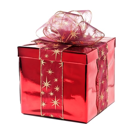 Red gift box with golden stars Stock Photo