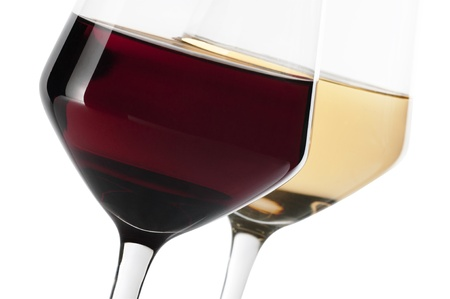 A glass of red and white wine isolated on white background