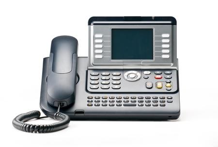 VOIP teléfono aislado en backgound blanco Foto de archivo