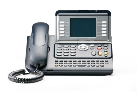 telephony: VOIP telephone isolated on white backgound