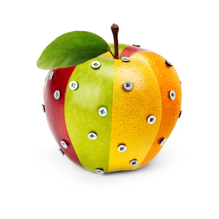 An Apple composed by several fruits attached by bolts