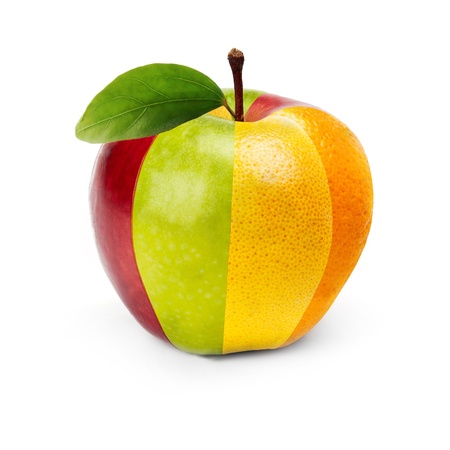 An Apple composed by several fruits  photo