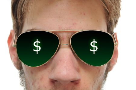 aviators: Close up of man with aviators sun glasses on white background $.$
