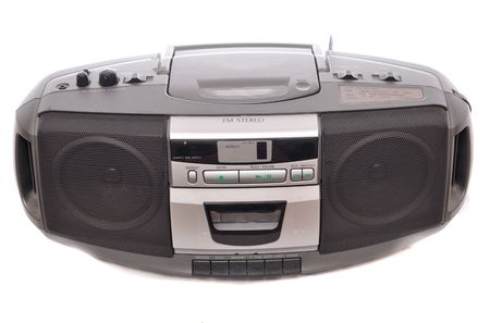 fm: FM Stereo Radio Boom box isolated on white. Stock Photo