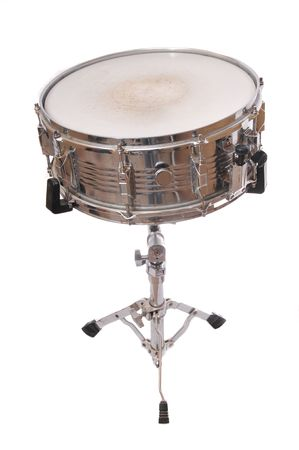 Snare drum on stand isolated on white