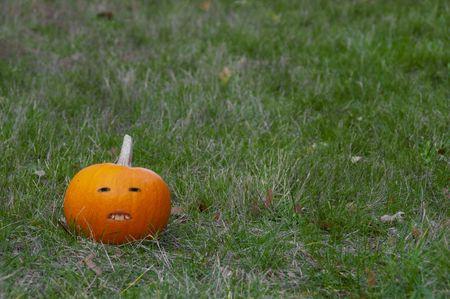 photomanipulation: A pumpkin with buckteeth. Stock Photo